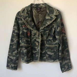 Anthropologie Luii Beaded Camo Jacket